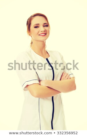 Beautiful blonde nurse with arms folded Stock photo © stryjek
