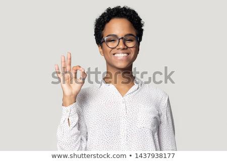 amerikai · hölgy · gesztikulál · kiválóság · felirat · izolált - stock fotó © stockyimages