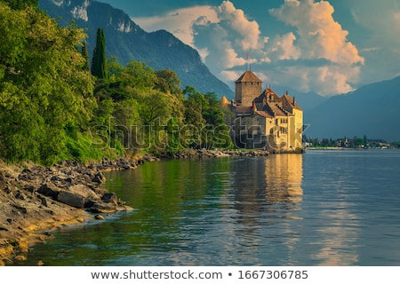 Lago alpino cidade Suíça verão Foto stock © pkirillov