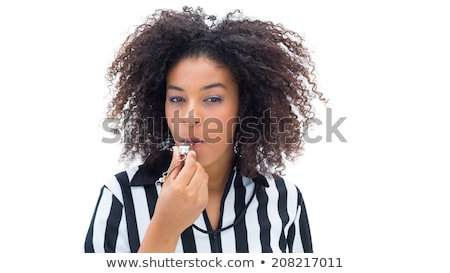 beautiful woman with a whistle wearing football shirt holding football stock photo © Rob_Stark