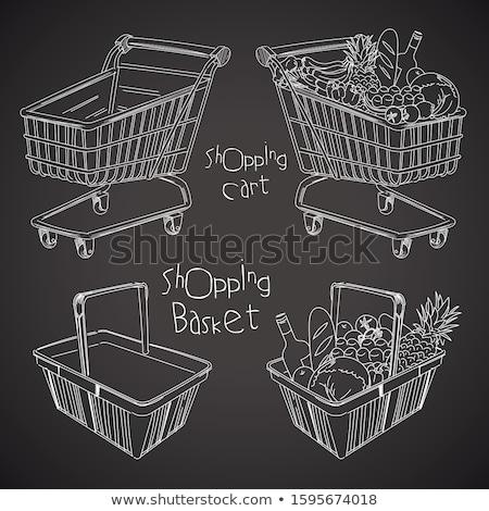 kosár · kézzel · írott · fehér · kréta · iskolatábla · üzlet - stock fotó © bbbar