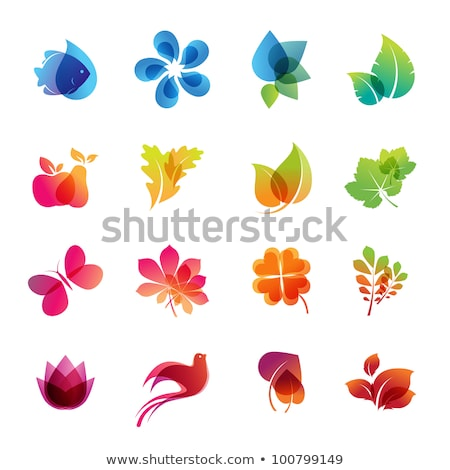 abstract shiny eco icons set Stock photo © pathakdesigner