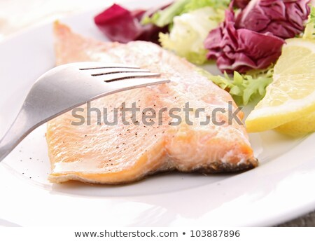 grilled fish and vegeatbles stock photo © m-studio