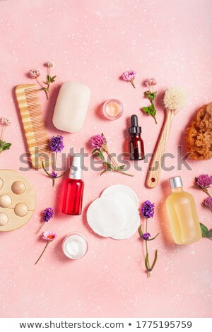 pink flowers brush and sponge for wellness in a beauty spa stock photo © juniart