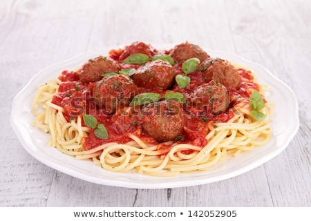 spaghetti tomato sauce and meat balls stock photo © m-studio