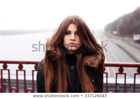 hipster girl in depression photo in black and white style stock photo © massonforstock
