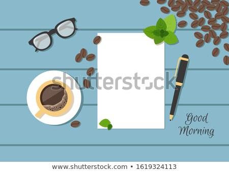 Grãos de café óculos madeira vidro saúde Foto stock © happydancing