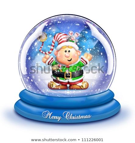 Stock fotó: Whimsical Cartoon Elf Snow Globe
