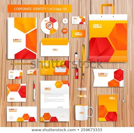 abstract orange corporate id template stock photo © pathakdesigner