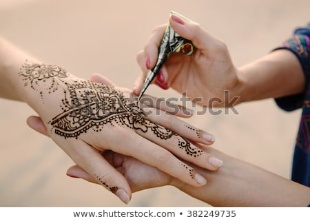 ヘナ タトゥー 細部 ショット インド 花嫁 ストックフォト © gregory21