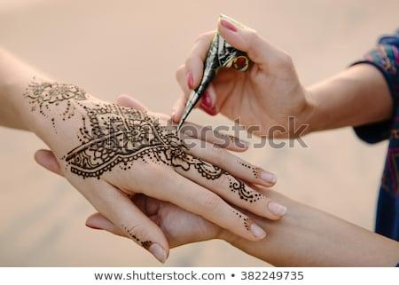 Stockfoto: Henna · tattoos · details · shot · indian · bruid