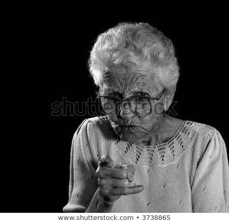 Popa mujer dedo mano cara jóvenes Foto stock © photography33