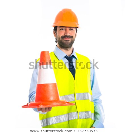 Builder holding traffic cone Stock photo © photography33