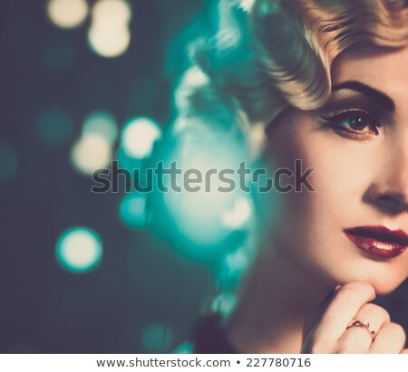 young blonde woman in classic retro dress romantic lady stock photo © gromovataya