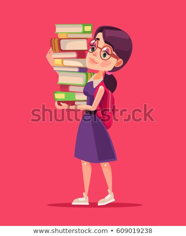 Woman carrying a stack of books Stock photo © photography33