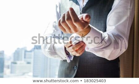 kék · mandzsetta · linkek · izolált · fehér · divat - stock fotó © prg0383