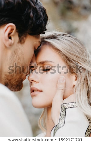 молодые страстный пару красивой изолированный белый Сток-фото © acidgrey