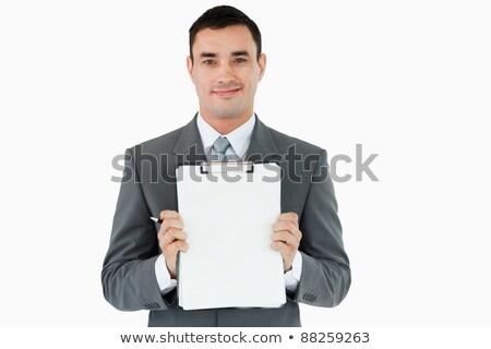 zakenman · presenteren · merkt · witte · kantoor · pen - stockfoto © wavebreak_media