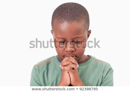 Menino oração branco mão cara Foto stock © wavebreak_media