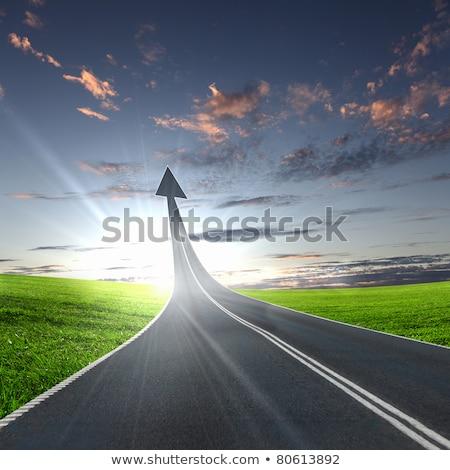 manier · vooruit · teken · hemel · wegwijzer · Blauw - stockfoto © lightsource