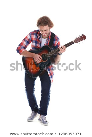 Man on background play guitar Stock photo © vetdoctor