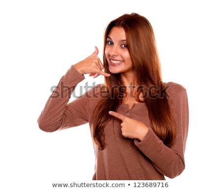 笑みを浮かべて 若い女性 ことわざ 私を呼び出す 手 青 ストックフォト © pablocalvog