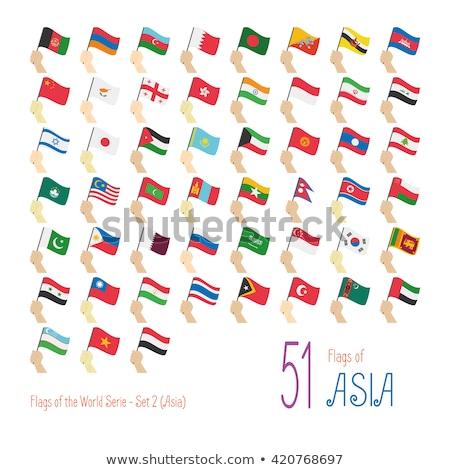 Vlag Kirgizië schaduw witte achtergrond zwarte Stockfoto © claudiodivizia