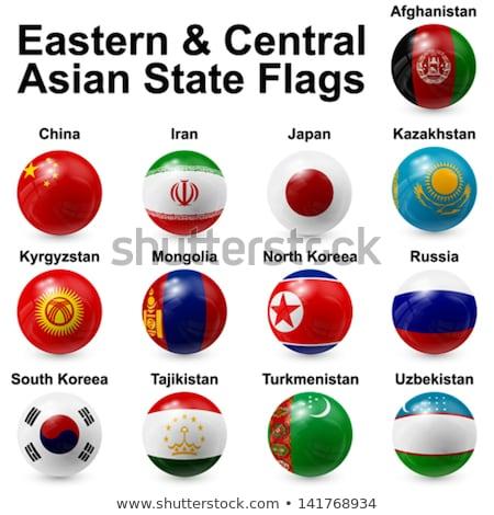 Glas knop vlag Kirgizië Rood boeg Stockfoto © maxmitzu