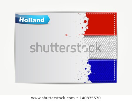 Stitched Holland flag with grunge paper frame for your text.  Stock photo © maxmitzu