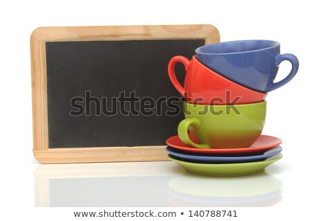 Stock photo: Set Of Colorful Cups With Blackboard On White Tea Time