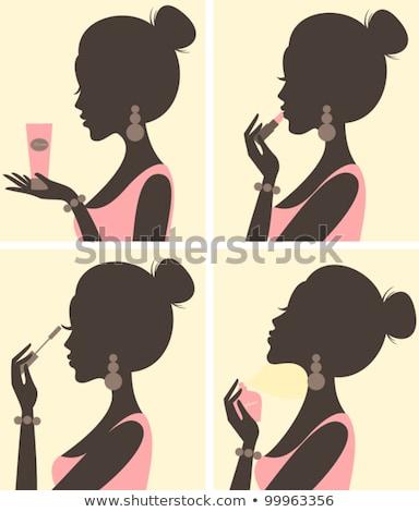 Silhouet meisje mascara illustratie meisjes Stockfoto © lenm