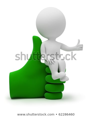 3d small people   sits on the idea stock photo © anatolym