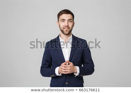 avukat · ayakta · portre · erkek · kitaplık - stok fotoğraf © feedough