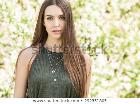 Güzel genç kız elbise açık oturma bank Stok fotoğraf © Len44ik