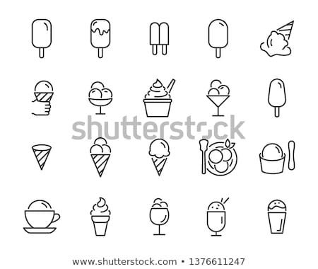 Foto stock: Vetor · sorvete · ícones · preto · e · branco · vidro · verão
