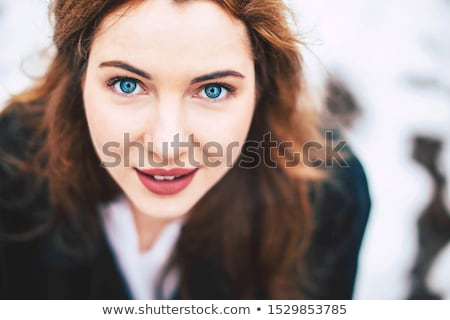 beauty portrait of blue eyes brunette stock photo © lunamarina