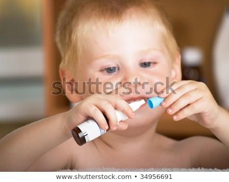 Portré fiú tart szem cseppentő gyermek Stock fotó © zzve