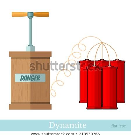 explosief · dynamiet · brandend · geïsoleerd · witte · Rood - stockfoto © konturvid
