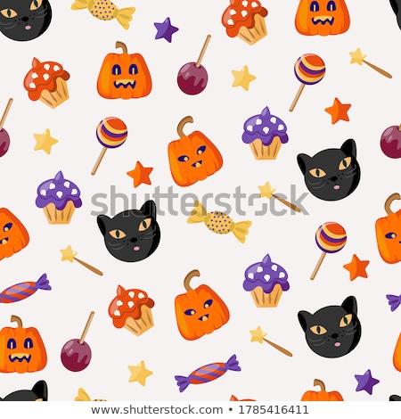 Hátborzongató koponya édesség tökök halloween buli Stock fotó © dashapetrenko