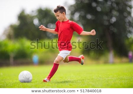 erkek · oynama · futbol · mutlu · saç · top - stok fotoğraf © egrafika