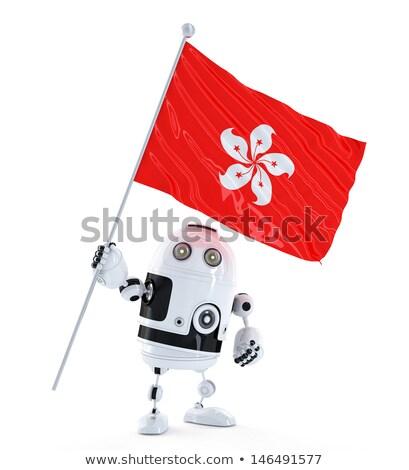 Android robot ayakta bayrak Hong Kong yalıtılmış Stok fotoğraf © Kirill_M