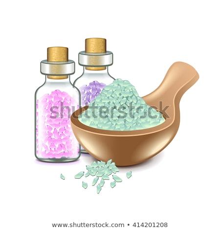 Homeopatik deniz tuzu lavanta kuru çiçekler ahşap Stok fotoğraf © gitusik