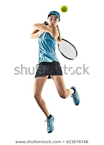 nő · teniszező · izolált · fehér · háttér · nyár - stock fotó © andreypopov