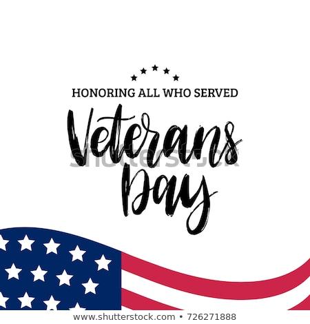 american soldier happy veterans day greeting card stock photo © patrimonio