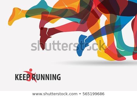Vektor maraton futók tömeg lábak piros Stock fotó © burakowski
