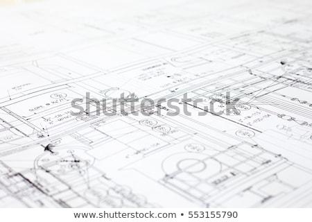Construction plans jaune design bleu Photo stock © Tagore75