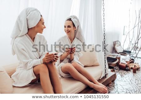 Fiatal női nap fürdő arc boldog Stock fotó © HASLOO