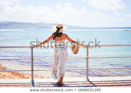 woman standing on a perfect beach stock photo © tommyandone