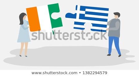 Grecja Wybrzeże Kości Słoniowej flagi puzzle odizolowany biały Zdjęcia stock © Istanbul2009