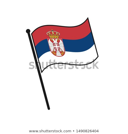 Serbia Small Flag on a Map Background. Stock photo © tashatuvango